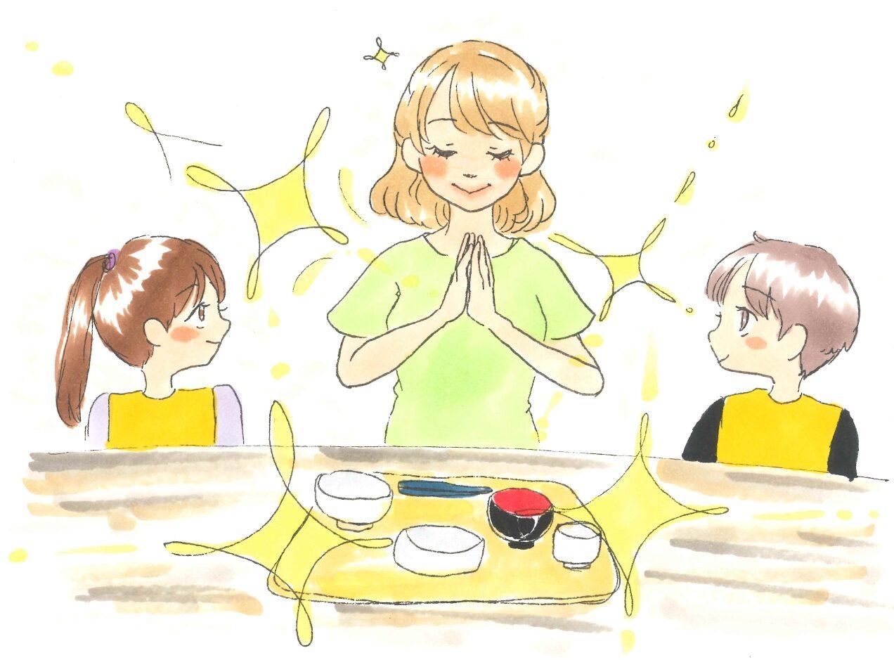 先生が見本を見せたい食事のマナー(イラスト はぁもにぃ保育園・栗林実花)